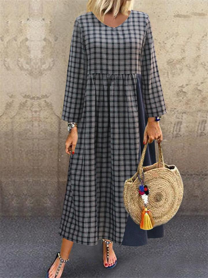 Vintage Classic Plaid Patchwork Long Sleeve Maxi Dress