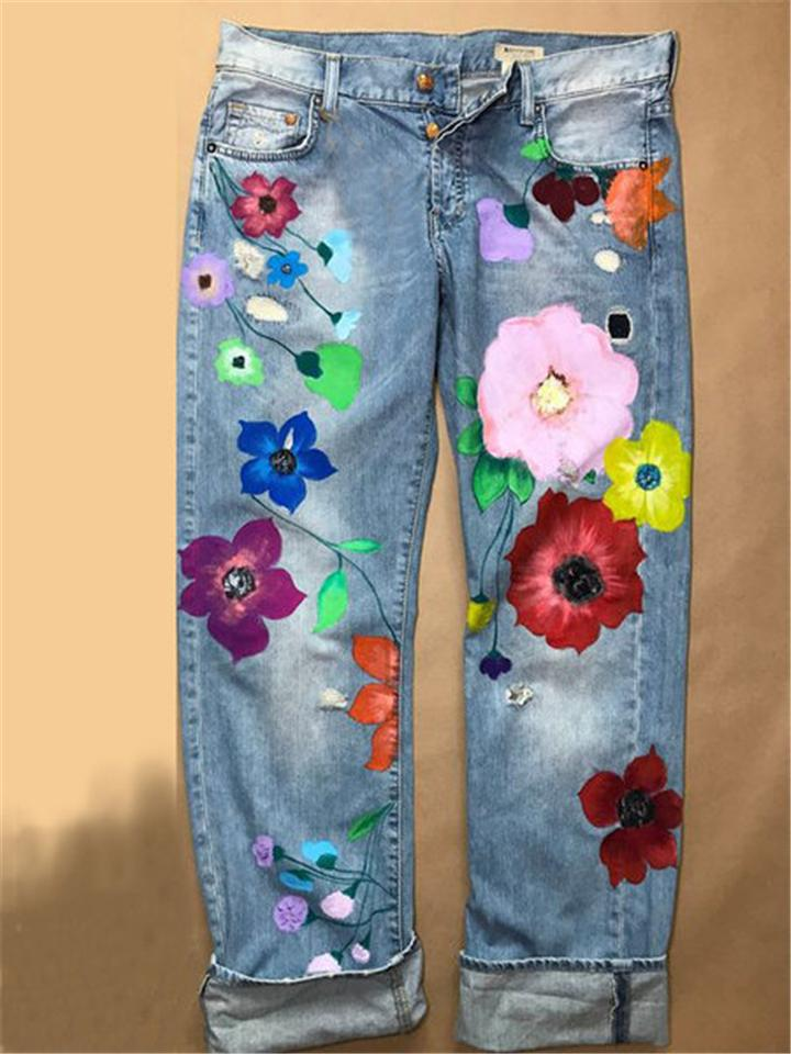 Fashion Washed Effect Floral Printed Pocket Denim Trousers