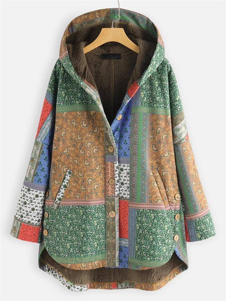 Ethnic Print Button-Up Hooded Plush Thick Coat