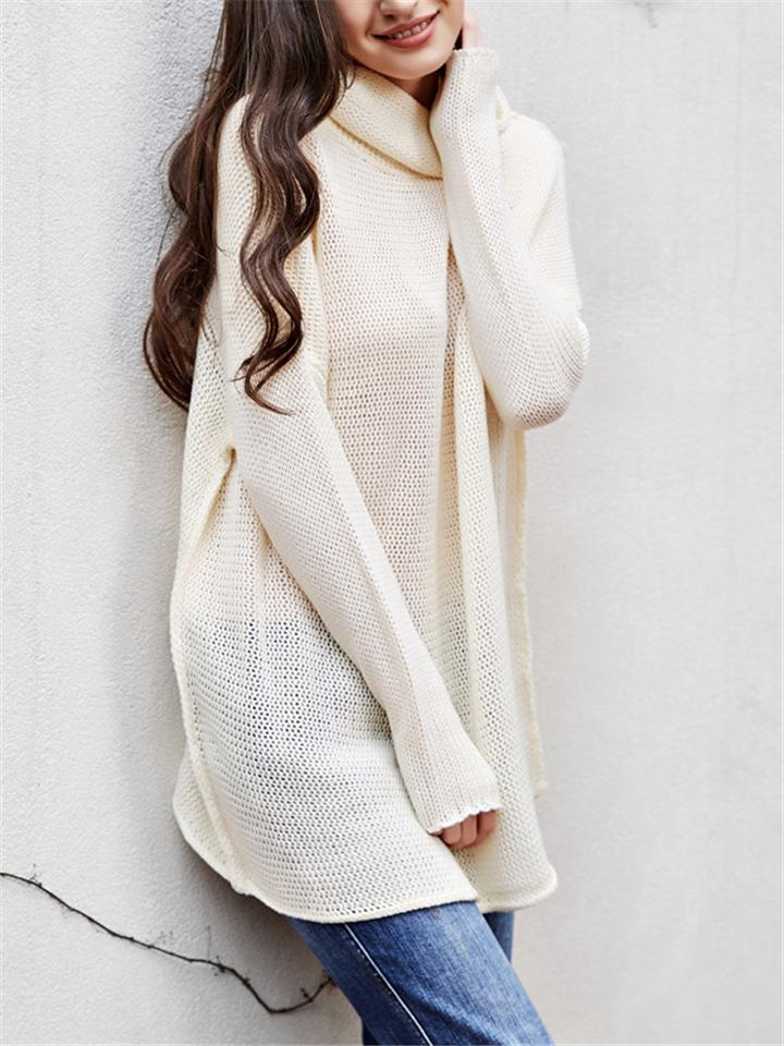 Loose Tricot Knitted Turtleneck Pullover Sweater