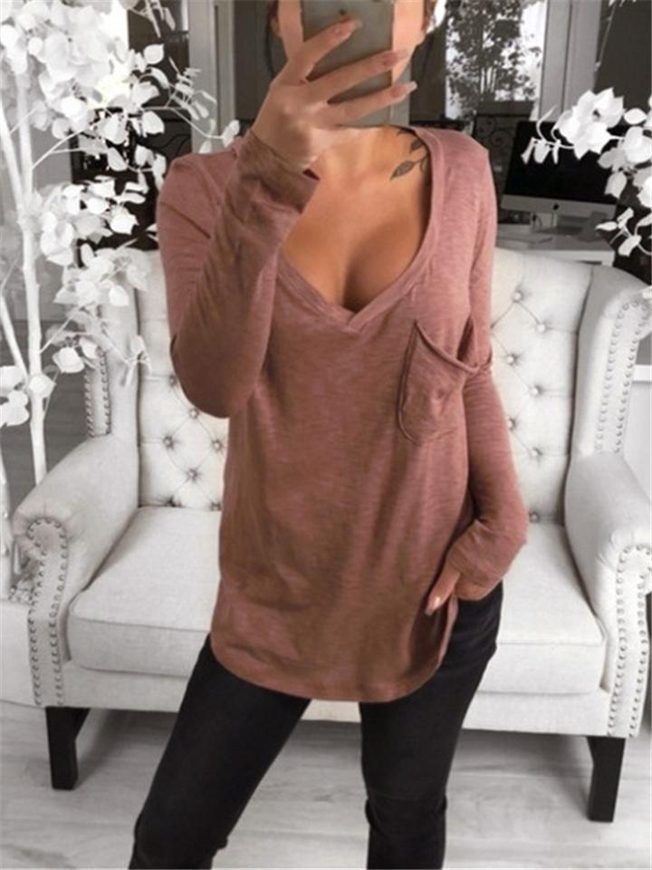 Comfy All-match Sexy V Neck Long Sleeve Solid Color T-shirts