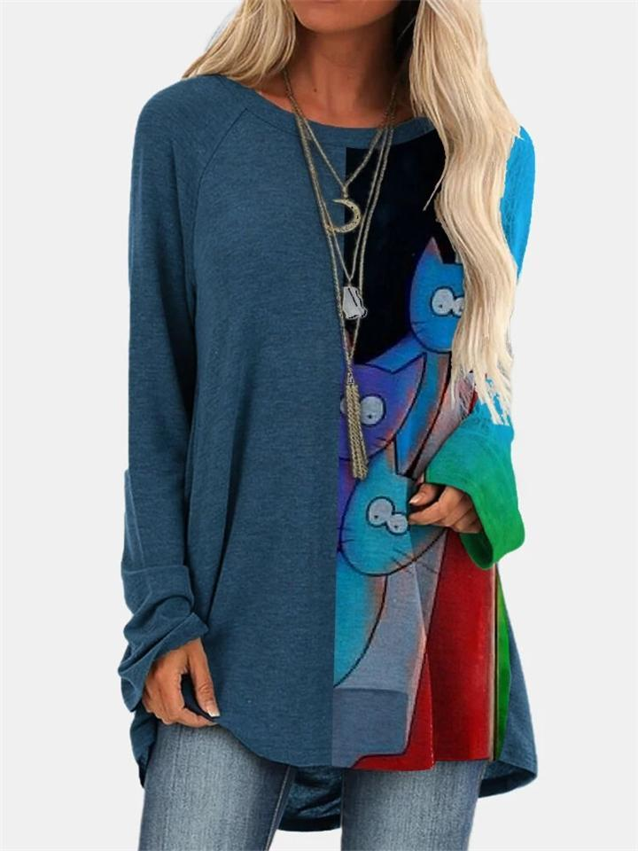 Casual Style Cat Printed Round Neck Long Sleeve Midi Shirt