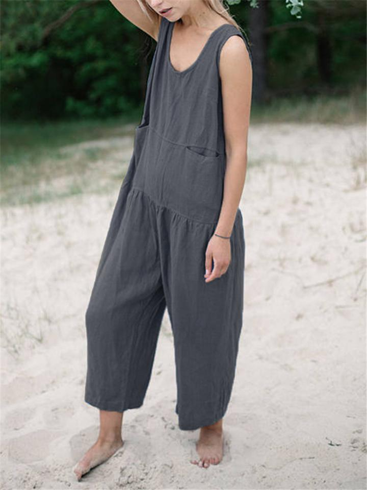 Minimalist Cotton Linen Solid Color Jumpsuit With Pockets
