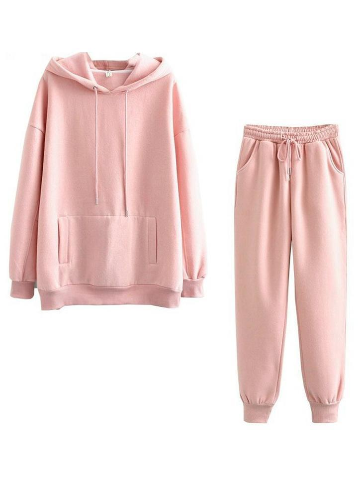Cozy Tracksuit Sets Hooded Sweatshirt + Elastic Waist Trousers
