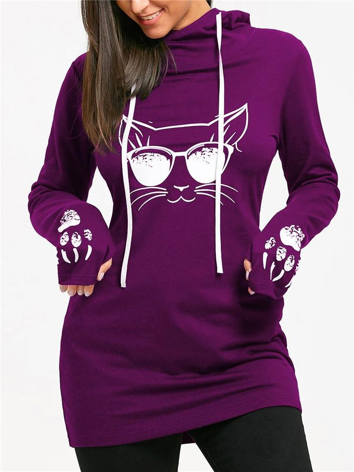 Slim Fit Cat Printed Long Sleeve Drawstring Hooded Sweatshirt