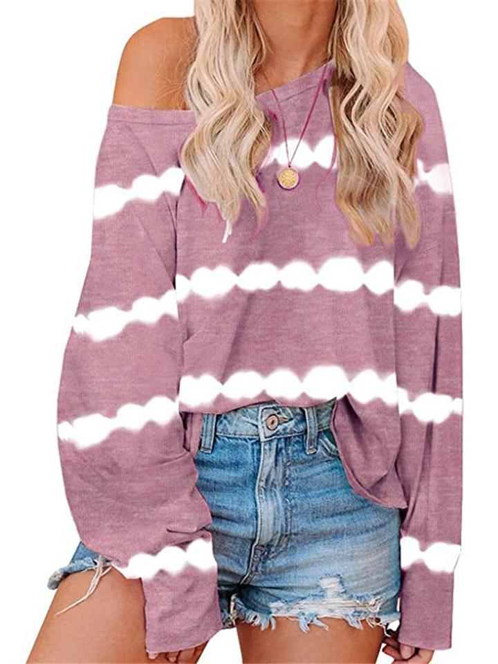 Tie-Dye Stripe Print Slouchy Long Sleeve Shirts