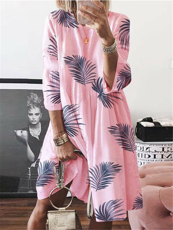 Stylish Leaf Printed Round Neck Long Sleeve Pullover Midi Dress