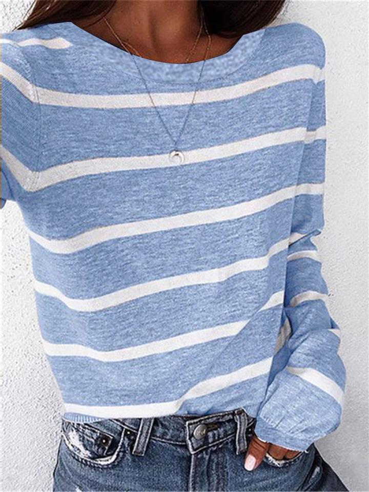 Comfortable Round Neck Striped Long Sleeve T-Shirts