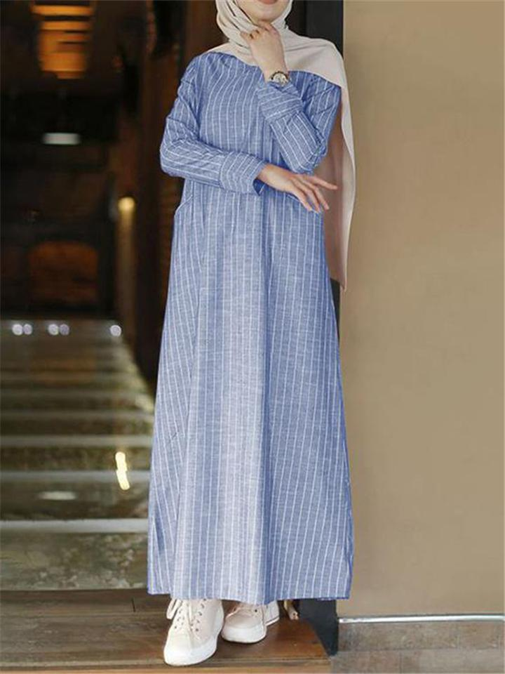 Minimalist Cotton Linen Stripe Relaxed Fit Long Sleeve Long Dress