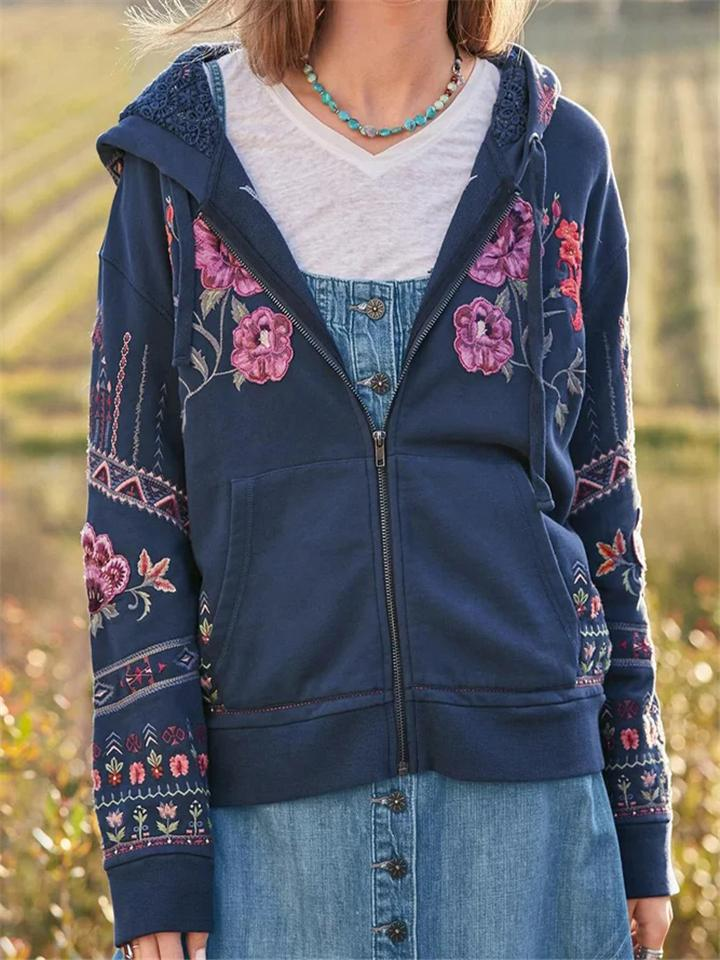 Stylish Embroidery Floral Hooded Outerwear