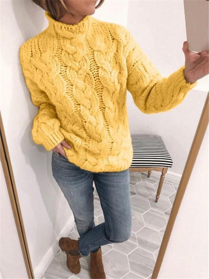Fashion Casual Solid Color Loose Knitted Sweater For Women