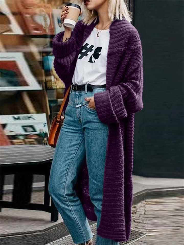 Ultra Comfortable Fashion Solid Color Knitting Long Cardigan For Women