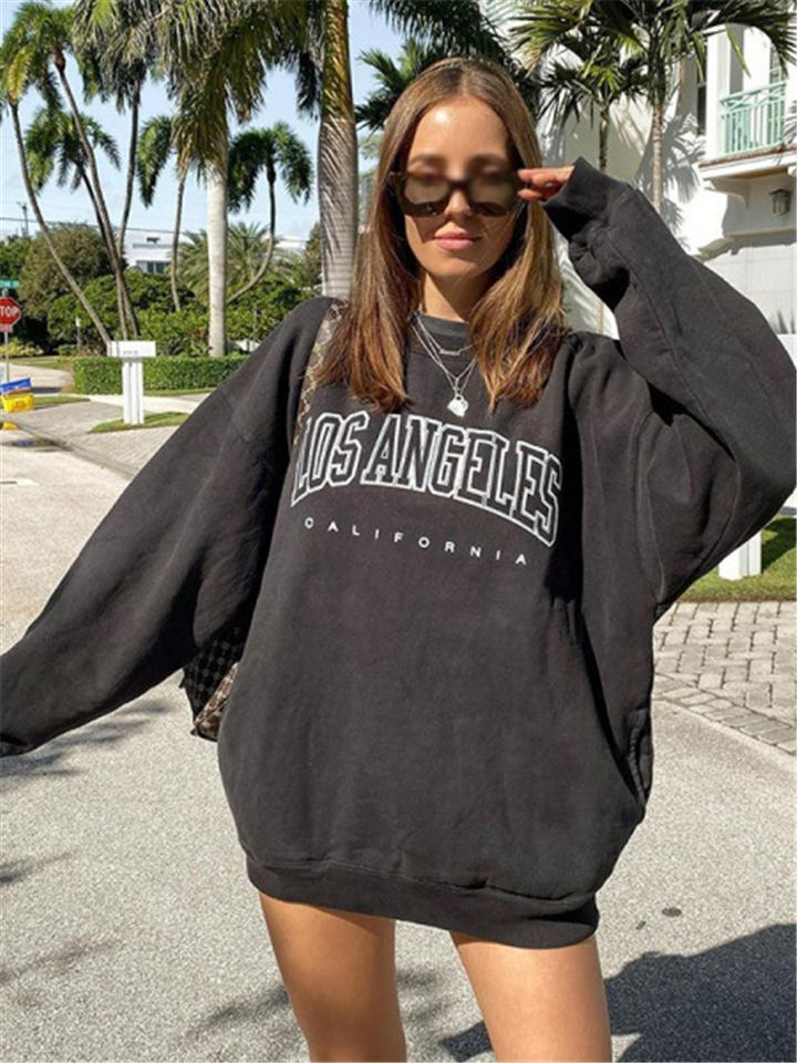 Street Style Casual Letters Printed Solid Color Thick Tops