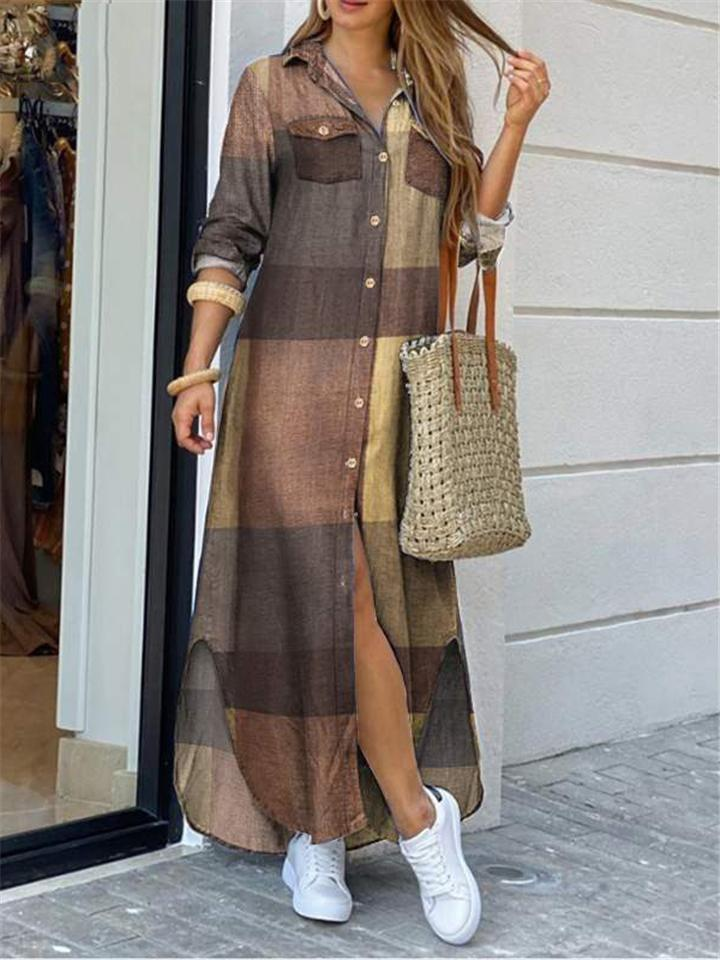 Fashion Plaid Color Matching Long Shirts Dress