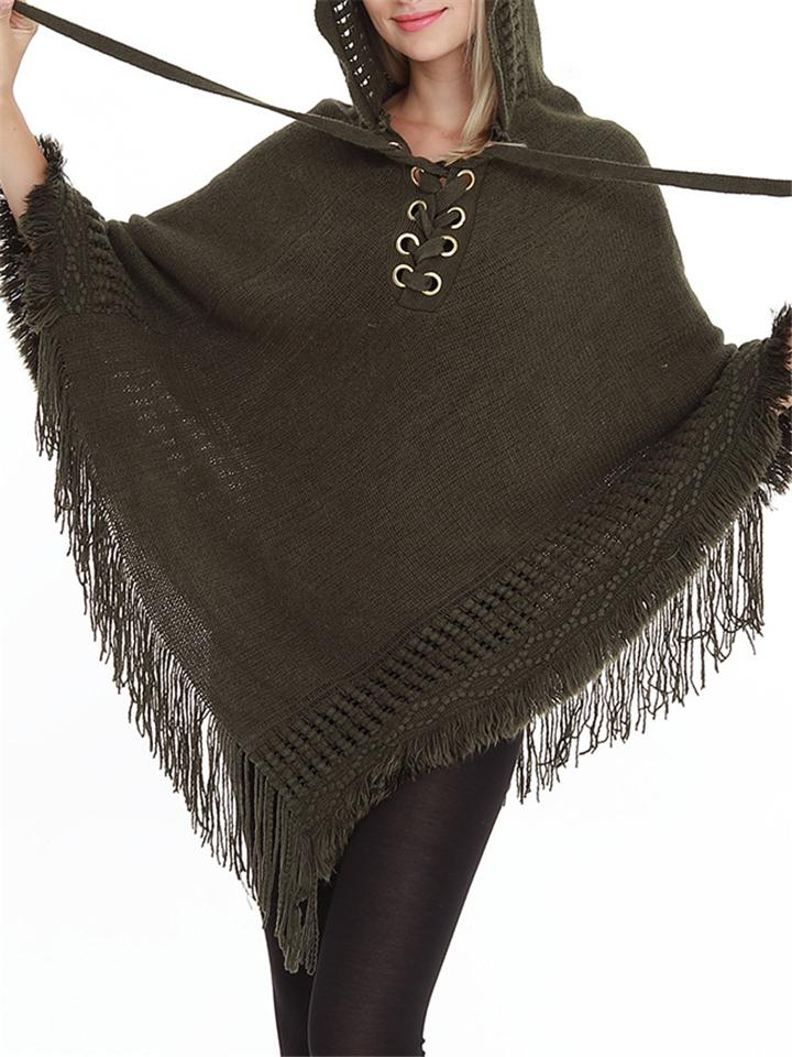 Tassel Knitted Lace-Up Hooded Pullover Cloak