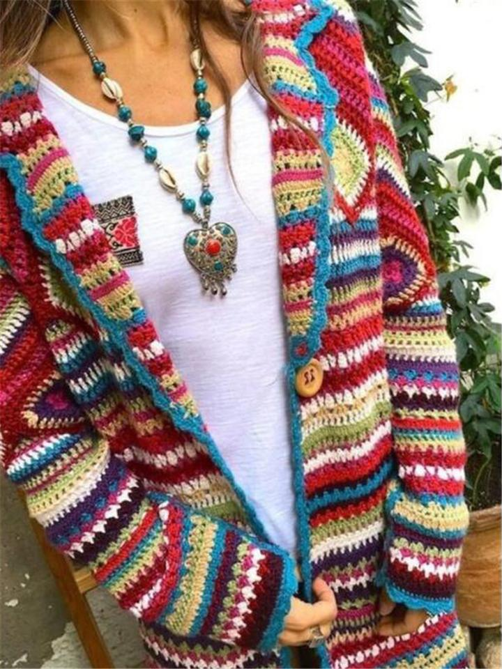Woemn's Casual Colourful Long Sleeve Knitted Coat