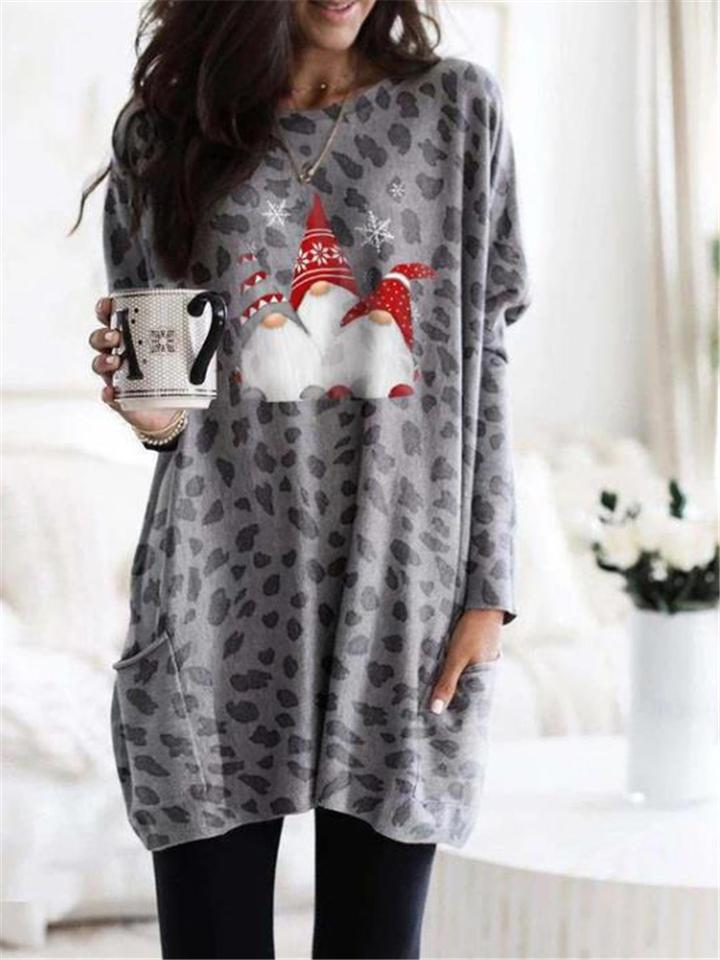 Casual Leopard Christmas Printing Midi Dress