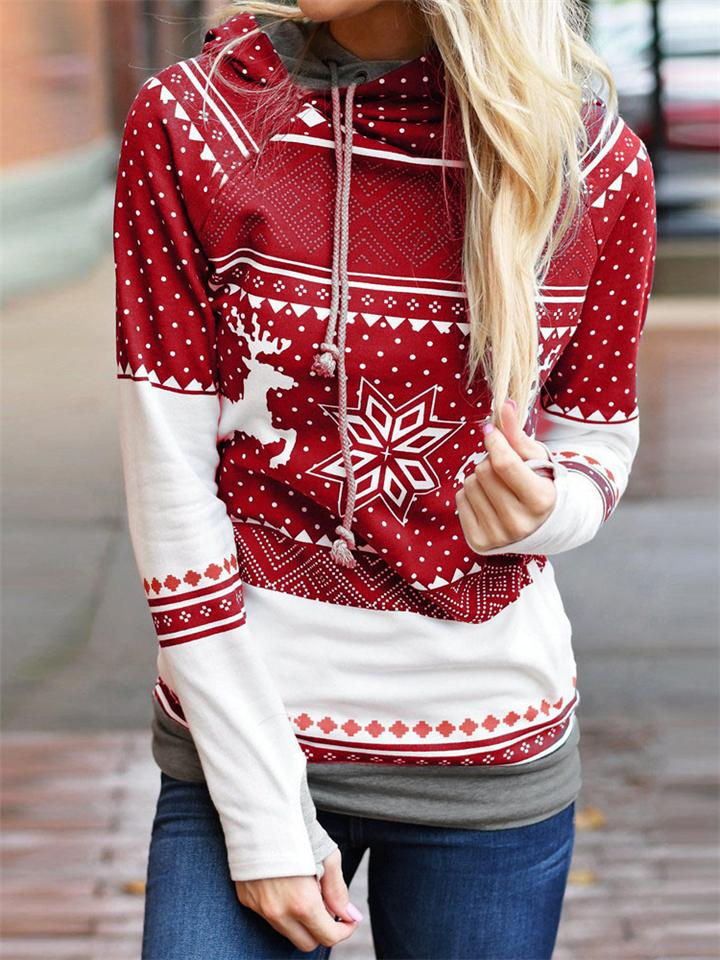 Women's Casual Christmas Snowflakes Print Hooded Sweatshirt