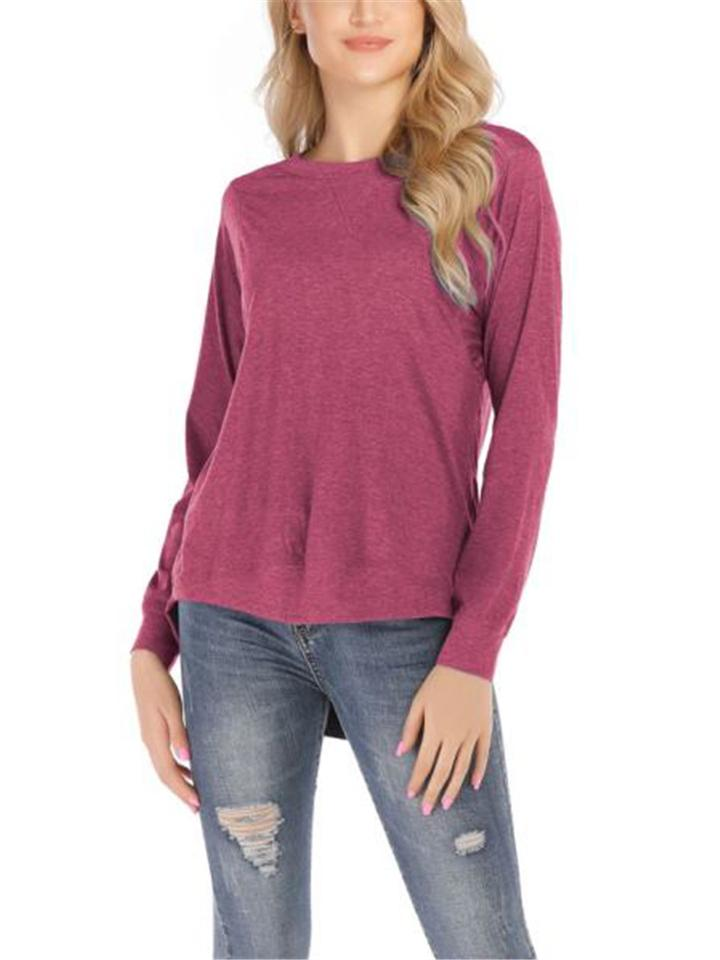 Solid Color Minimalist Loose Soft Casual Round Collar Long Sleeve T-Shirt