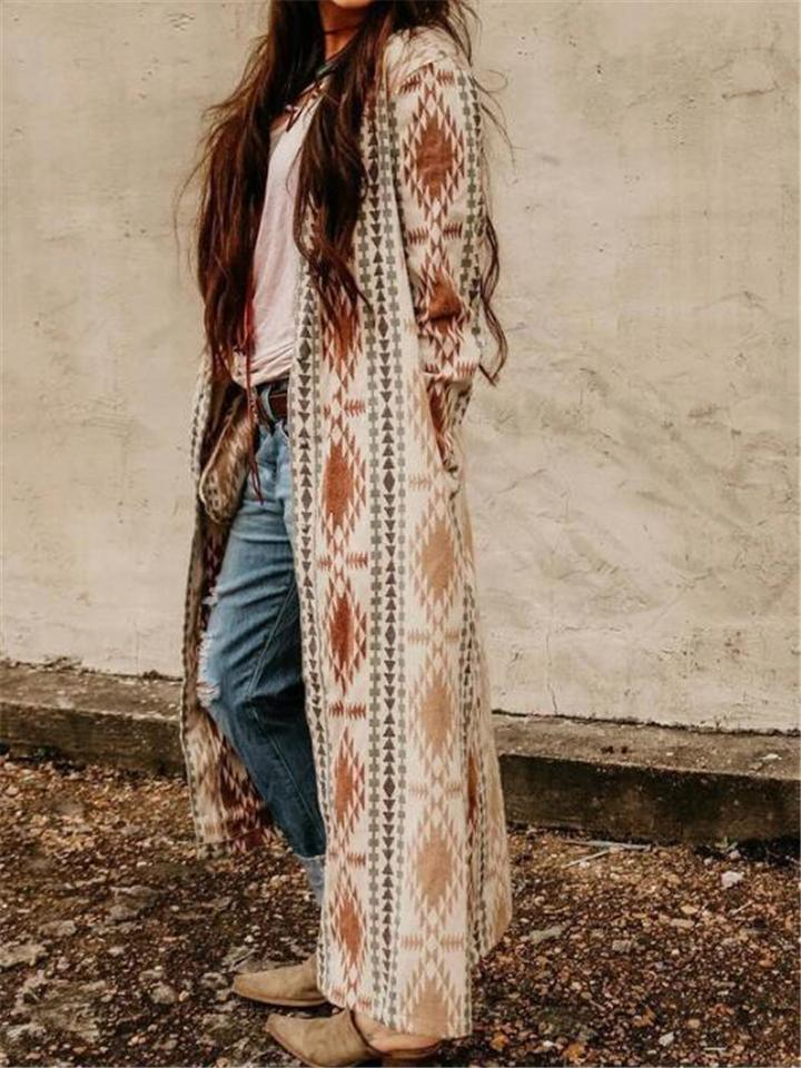 Comfortable Geometric Pattern Front Open Long Cardigan