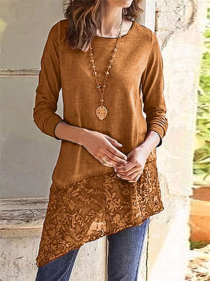 Round Neck Asymmetric Lace Hem Solid Color Pullover Shirt