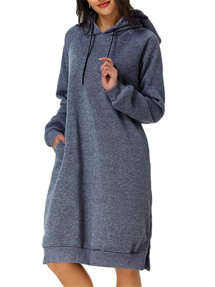Relaxed Fit Solid Color Drawstring Hooded Midi Sweatshirt