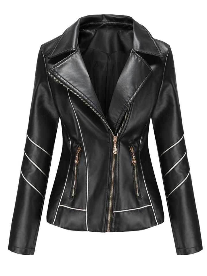Women's Notched Collar Side Pocket PU Leather Thin Jacket Coat