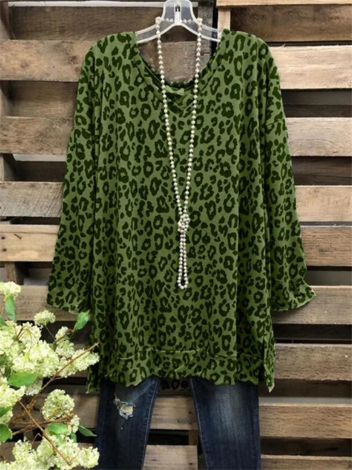 Relaxed Fit Leopard Print Long Sleeve T-shirt