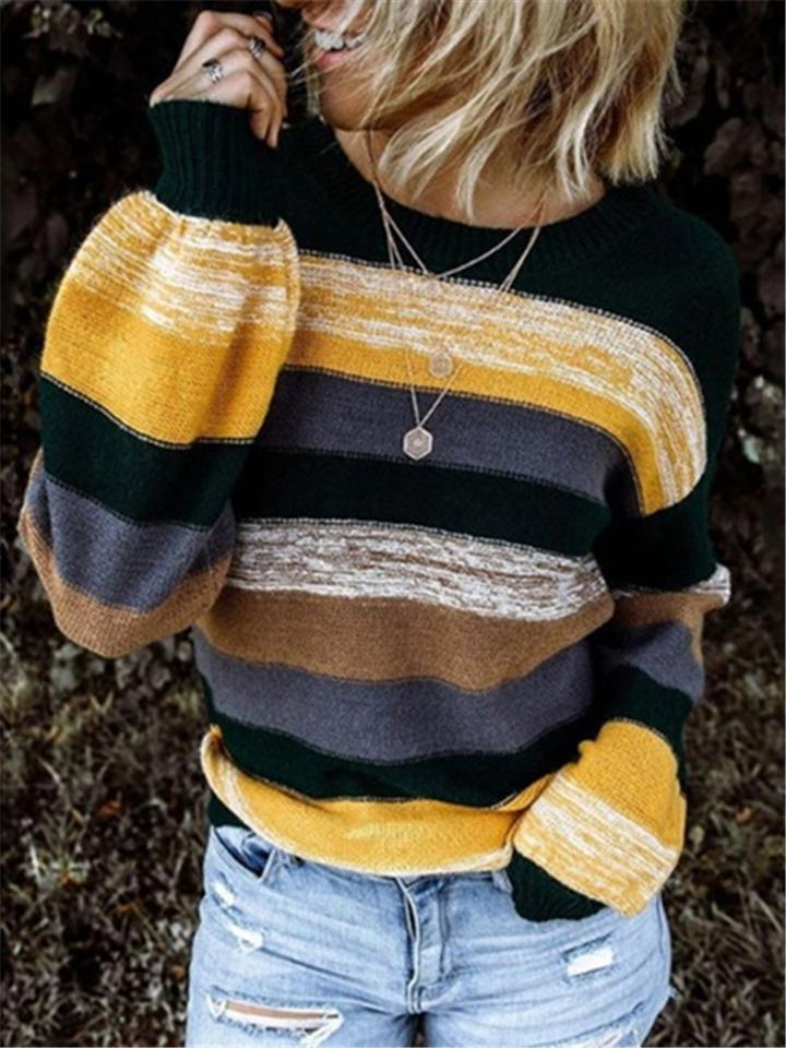 Women Fashion Color Block Stripe Casual Knitted Sweaters