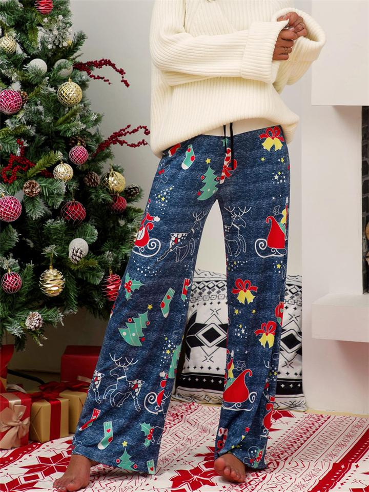 Women's Casual Christmas Print Drawstring Loose Pants