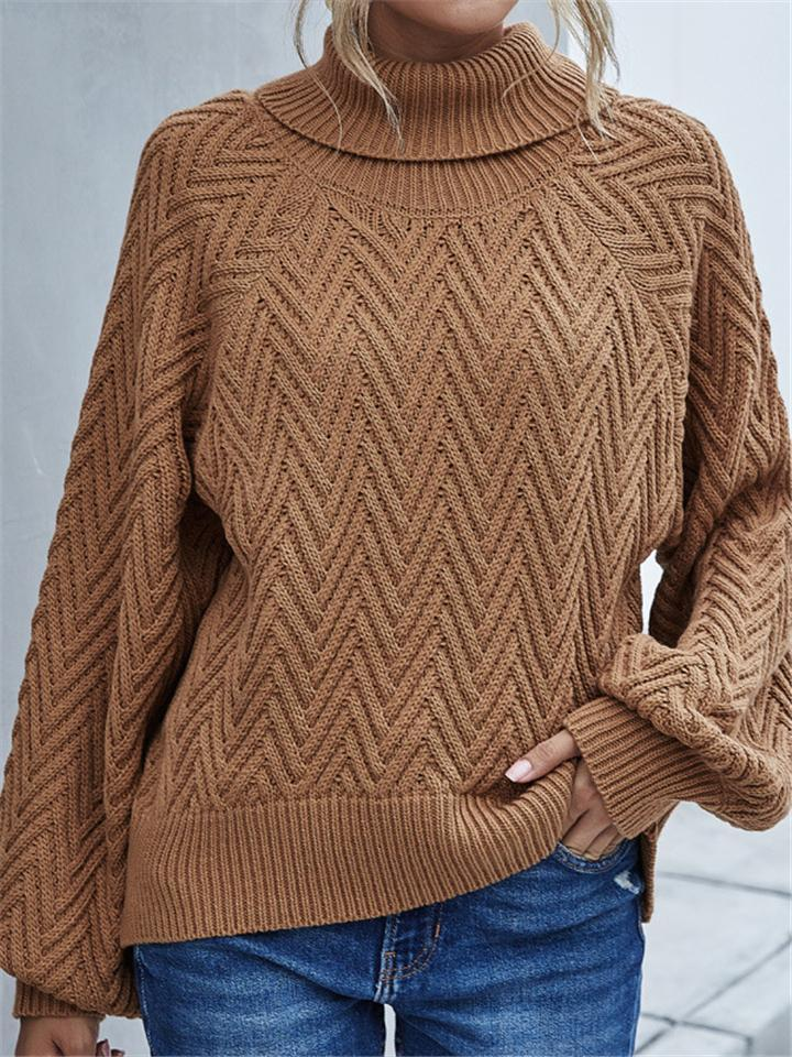 Casual Fit Turtleneck Solid Color Ribbed Knit Pullover Sweater