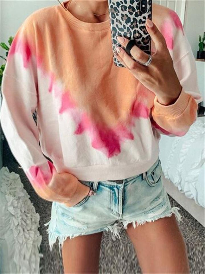 Cute Colored Printed Long Sleeve Blouses