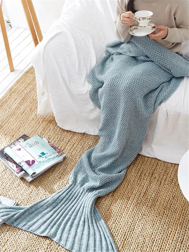Cute Fantasy Mermaid Knitted  Warm Sofa Blanket
