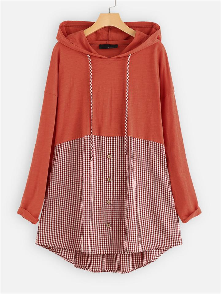 Fashion Patchwork Plaid Cotton Linen Long Sleeve Hoodie