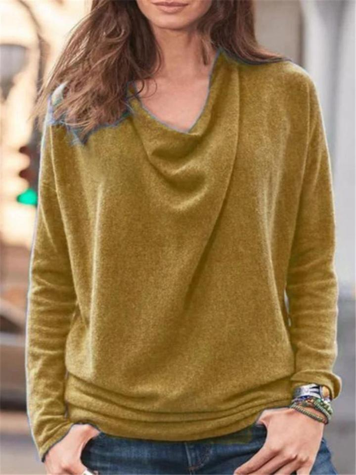 Relaxed Fit Solid Color Long Sleeve Basic Cotton Tops