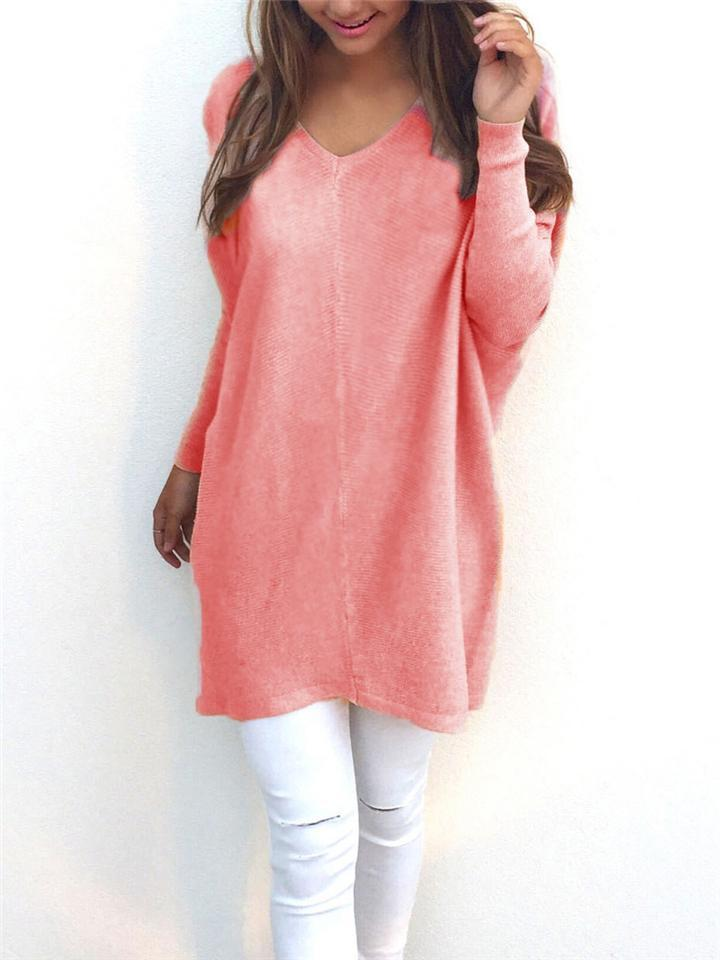 Comfortable Solid Color V Neck Long Sleeve Midi Length Sweater