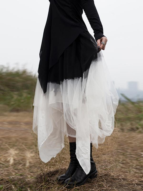 Black&White Gradient Cropped Gauze Skirt