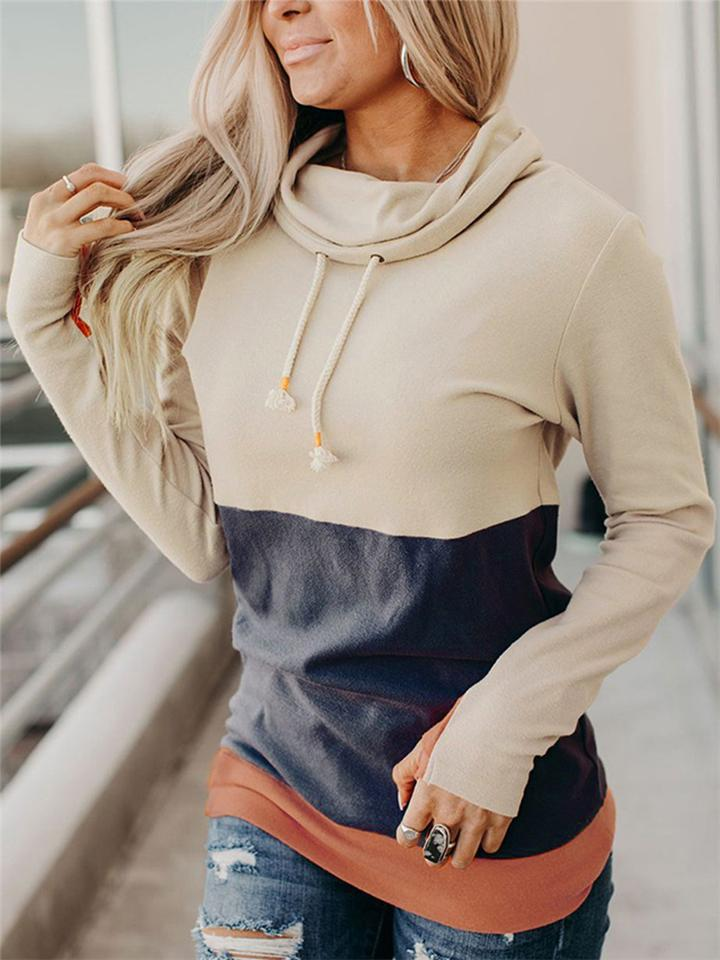 Slim Fit Color Block Drawstring Long Sleeve Sweatshirt