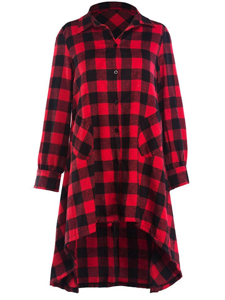 Classic Plaid Long Sleeve Shirtwaist High-Low Dress