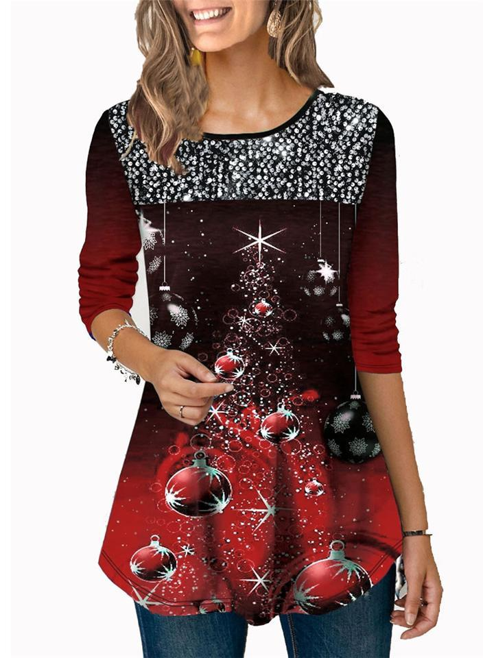 Casual Fit Christmas Themed Sequined 3/4 Sleeve Round Neck Shirt