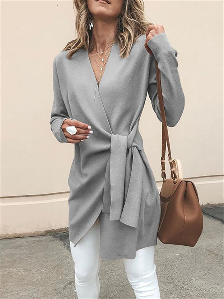 Solid Color Minimalist V Neck  Waist Belt Mid-Length Woolen Coat