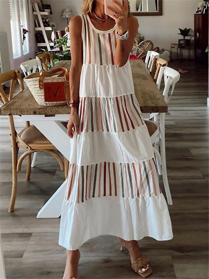 White Trendy Color Block Sleeveless A-line Maxi Dress