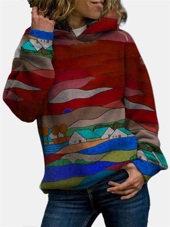 Comfortable Multicolor Printed Long Sleeve Hooded Sweatshirt