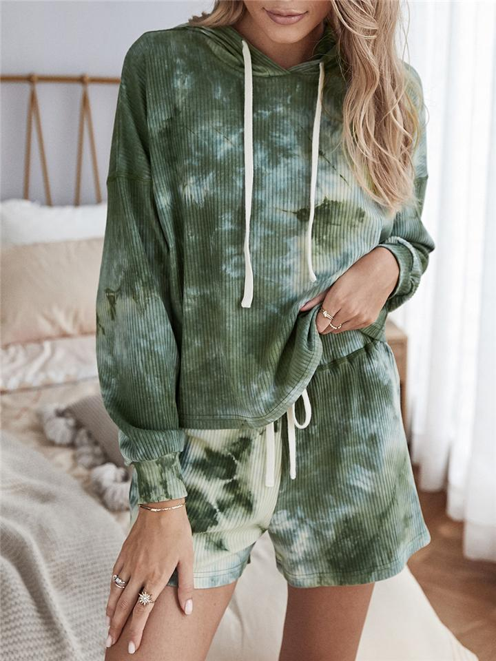 Women's Comfy Classic Tie-Dye Outfits Long Sleeve Hoodies + Shorts