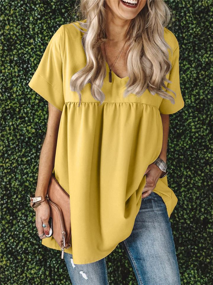Casual Loose V Neck Short Sleeve Ruched T-shirt