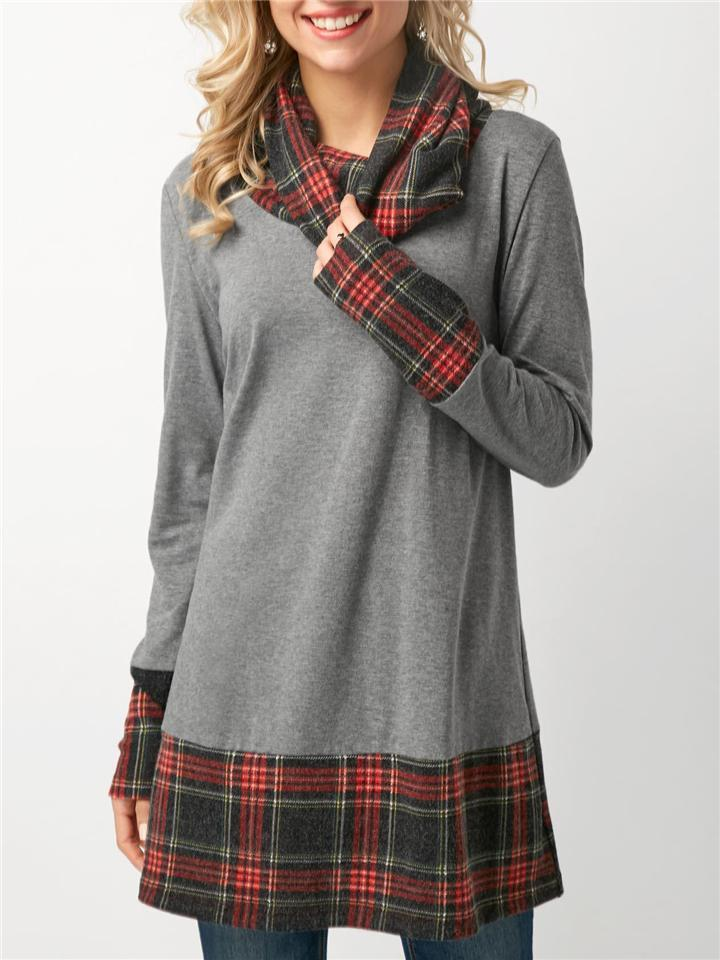 Relaxed Fit Cowl Neck Long Sleeve Plaid Midi Length Shirt