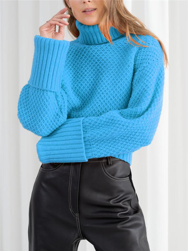 Ultra Cozy Turtleneck Solid Color Ribbed Knit Pullover Sweater