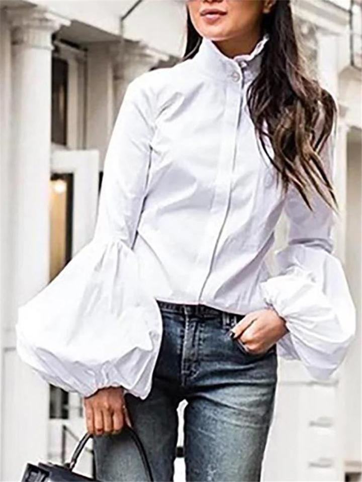 Easy Fit Turtleneck Front Button Bell Sleeve Blouse