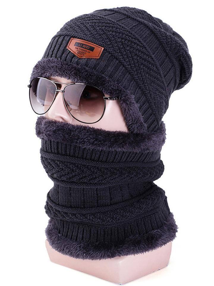 Winter Outdoor Ski Windproof Warm Knit Beanie Scarf Set