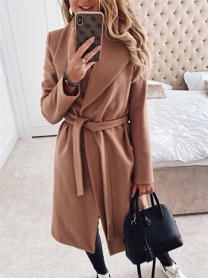 Stylish Lapel Collar Solid Color Midi Coats with Waist Tie